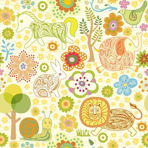 Dibujos infantiles con animales, flores y plantas en