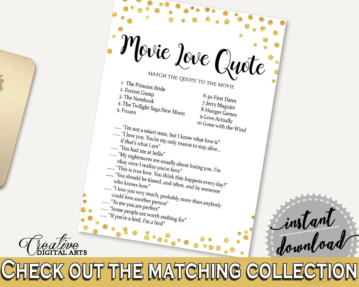 Movie Love Quotes Bridal Shower Movie Love Quotes Confetti Bridal