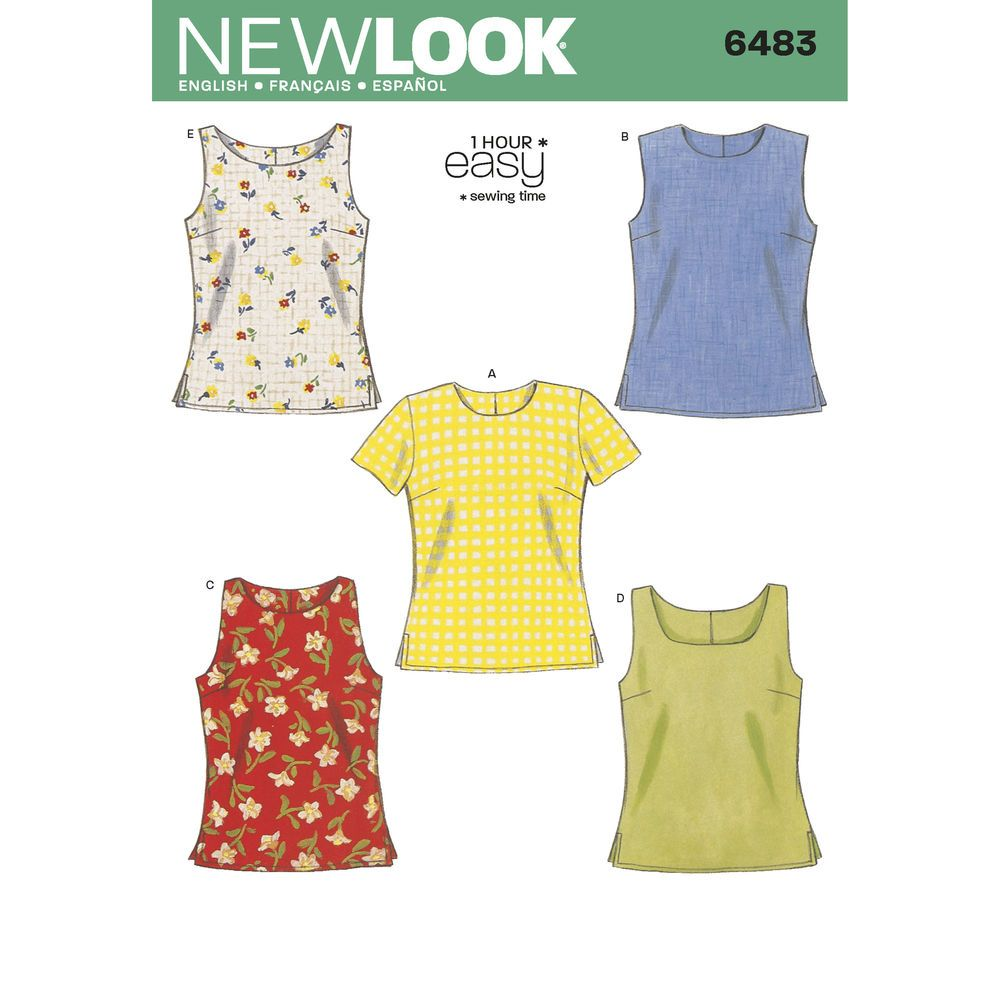 Misses tops with tank short sleeve and sleeveless variations misses tops with tank short sleeve and sleeveless variations easy 1 hour new look patternswomens sewing jeuxipadfo Gallery