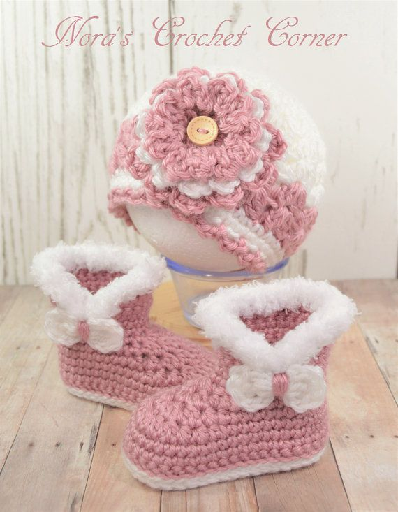 Baby Girl Crochet Hat and Fur Boots Rose by NorasCrochetCorner ...