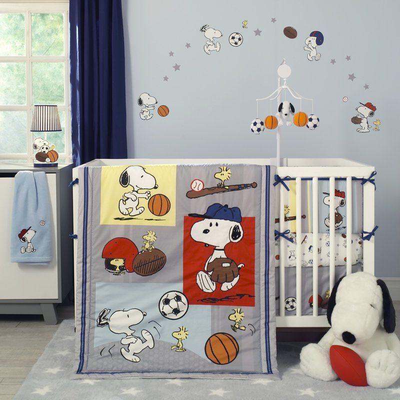 Snoopy Sports 3 Piece Crib Bedding Set Baby Crib Bedding Sets