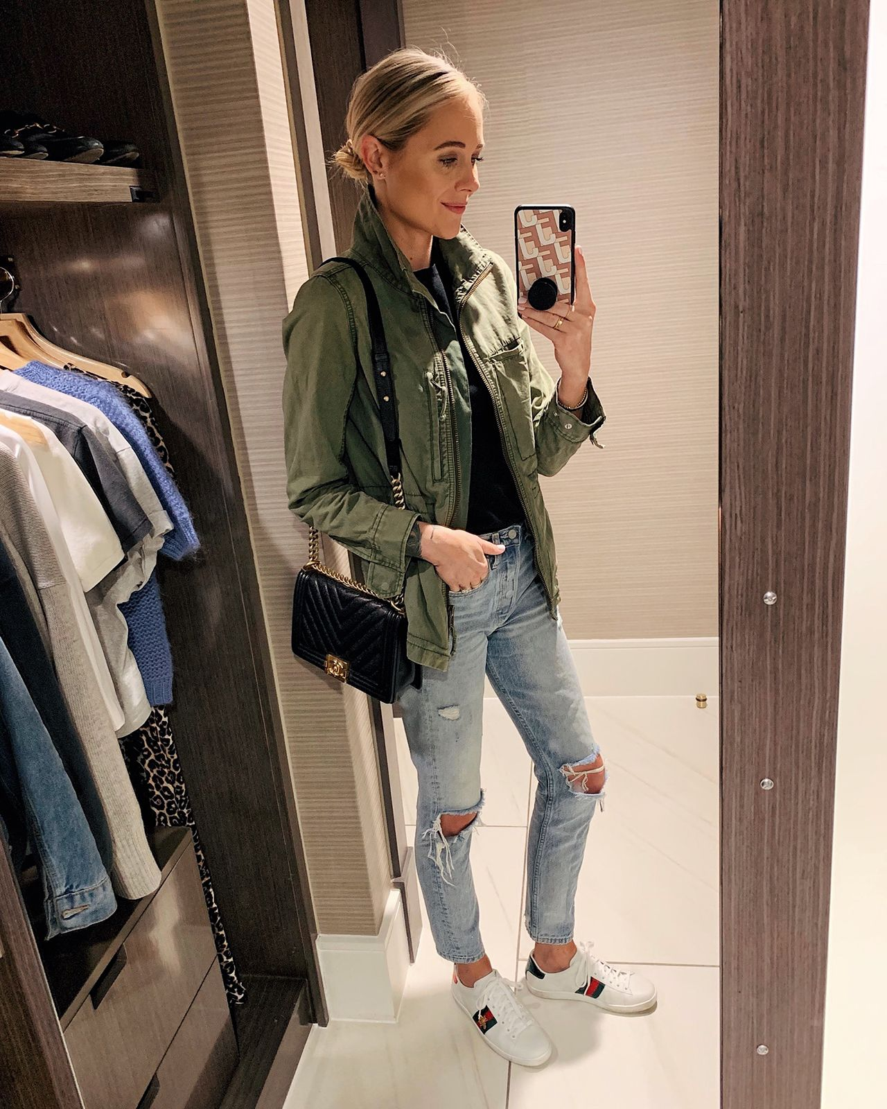 Fashion Jackson Wearing Green Utility Jacket Black Top Denim