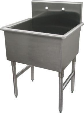Whitehaus WH4124 27 Inch Freestanding Stainless Steel Laundry / Utility Sink
