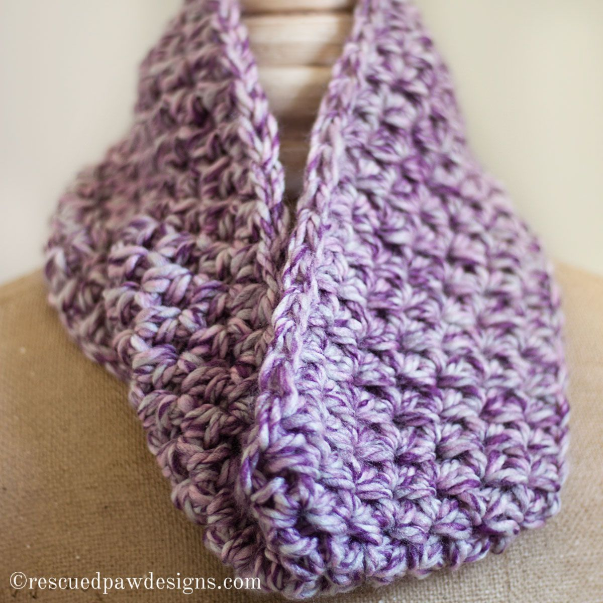 Marbled Dusk Simple Crochet Cowl a Beginner Crochet Pattern | Simple ...