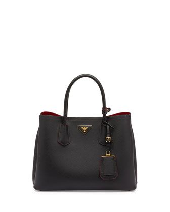 443c78b1da Saffiano Cuir Double Small Tote Bag, Black/Red (Nero+Fuoco) by Prada at  Neiman Marcus.