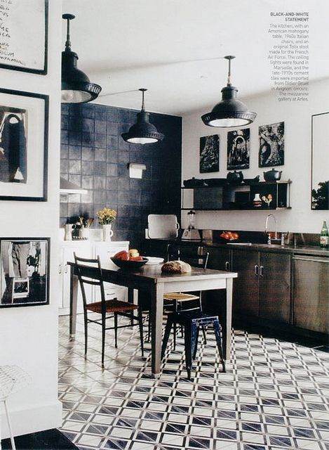 b+w-floors7 via flor | Industrial kitchens, Kitchens and Industrial