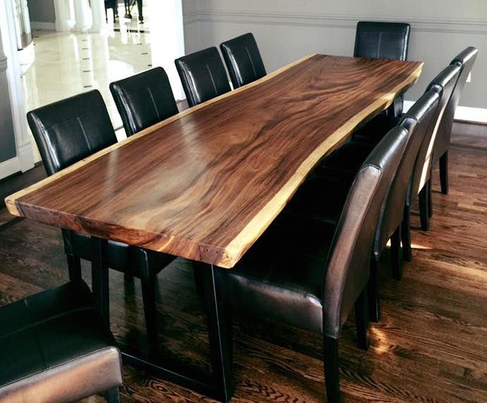Beautiful Monkeypod slab dining table with natural edges