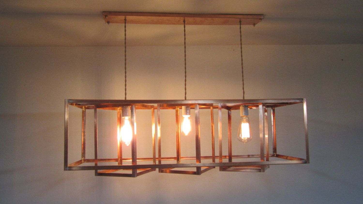 Modern industrial geometric copper hanging chandelier long reserved for alexandra custom drop length on modern industrial geometric copper hanging chandelier by khalimalights on etsy aloadofball Choice Image