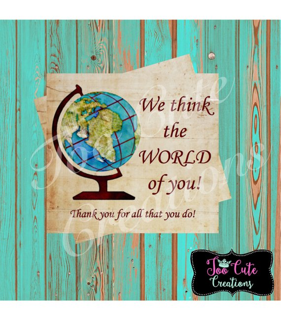 Thank You Tags//We Think the World of You Sticker/Tags for