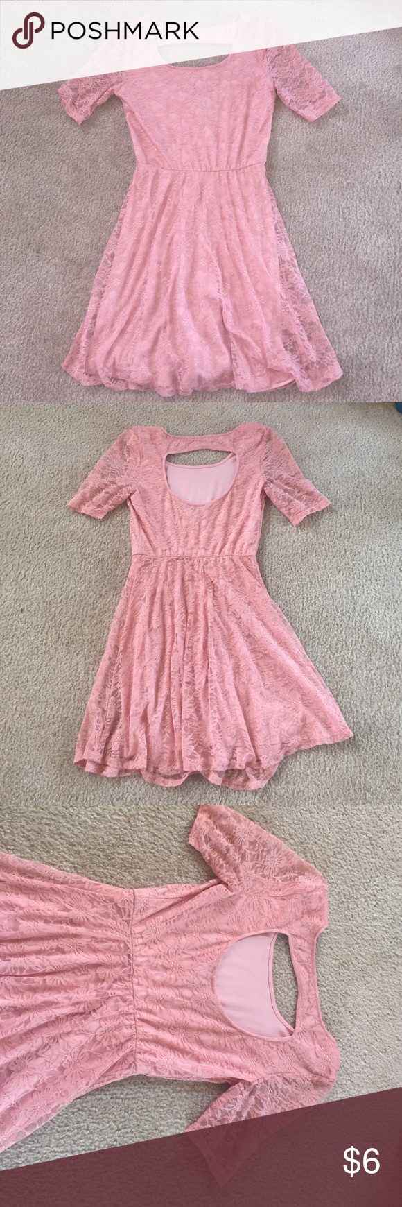Pink see through lace dress  pink casual lace dress Blush pink lace dress used but still in good