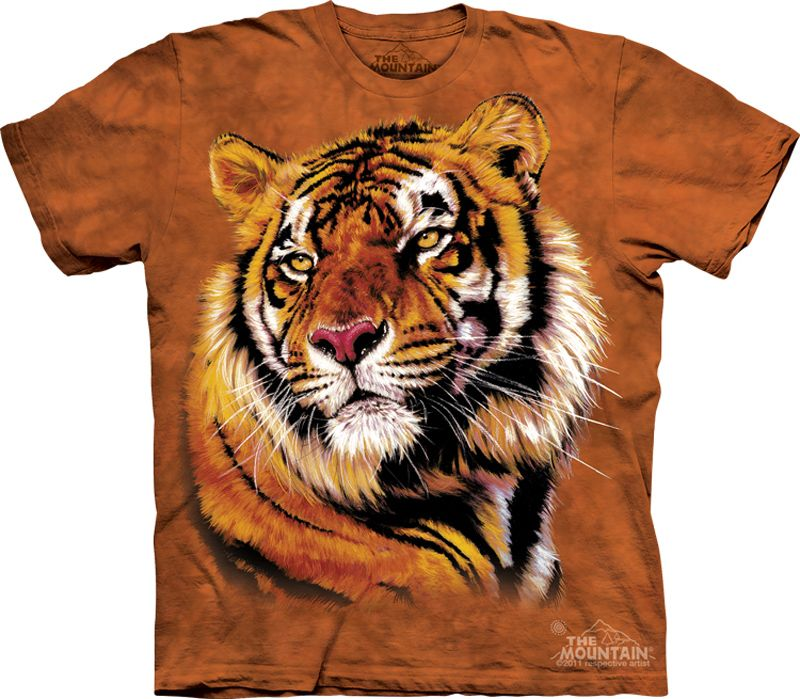 Mountain Bengal Tiger Kids Youth Orange Tie Dye T Shirt New Official Big Cat
