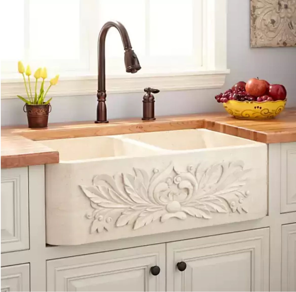 """33"""" Ivy Polished Marble DoubleBowl Farmhouse Sink Cream"""