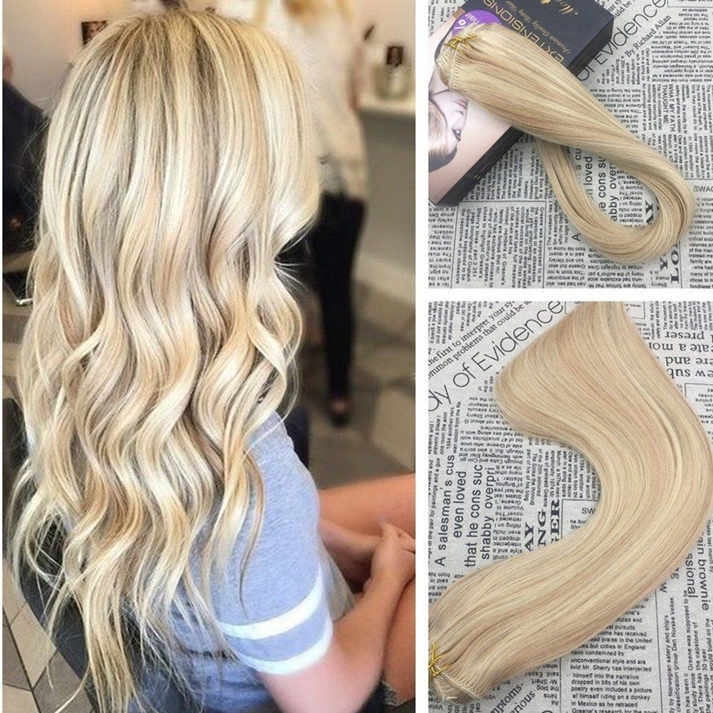 Moresoo 16 Inch Clip In Extensions Human Hair Remy Hair Double Weft