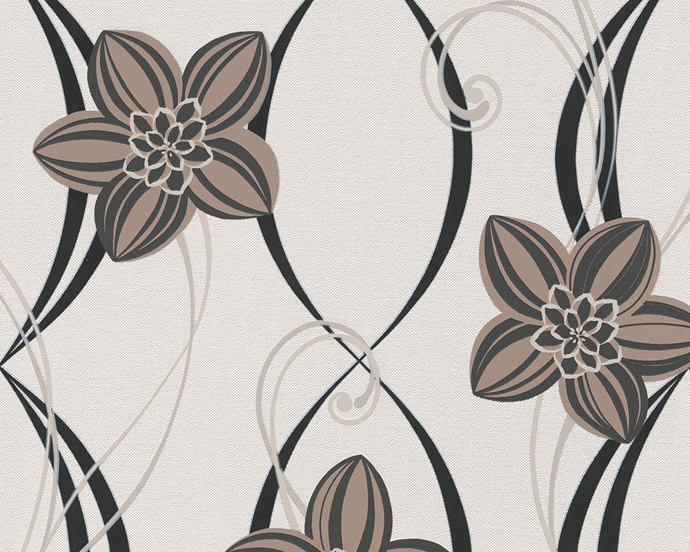 Sample Floral Graphic Wallpaper in Brown and White design by BD Wall