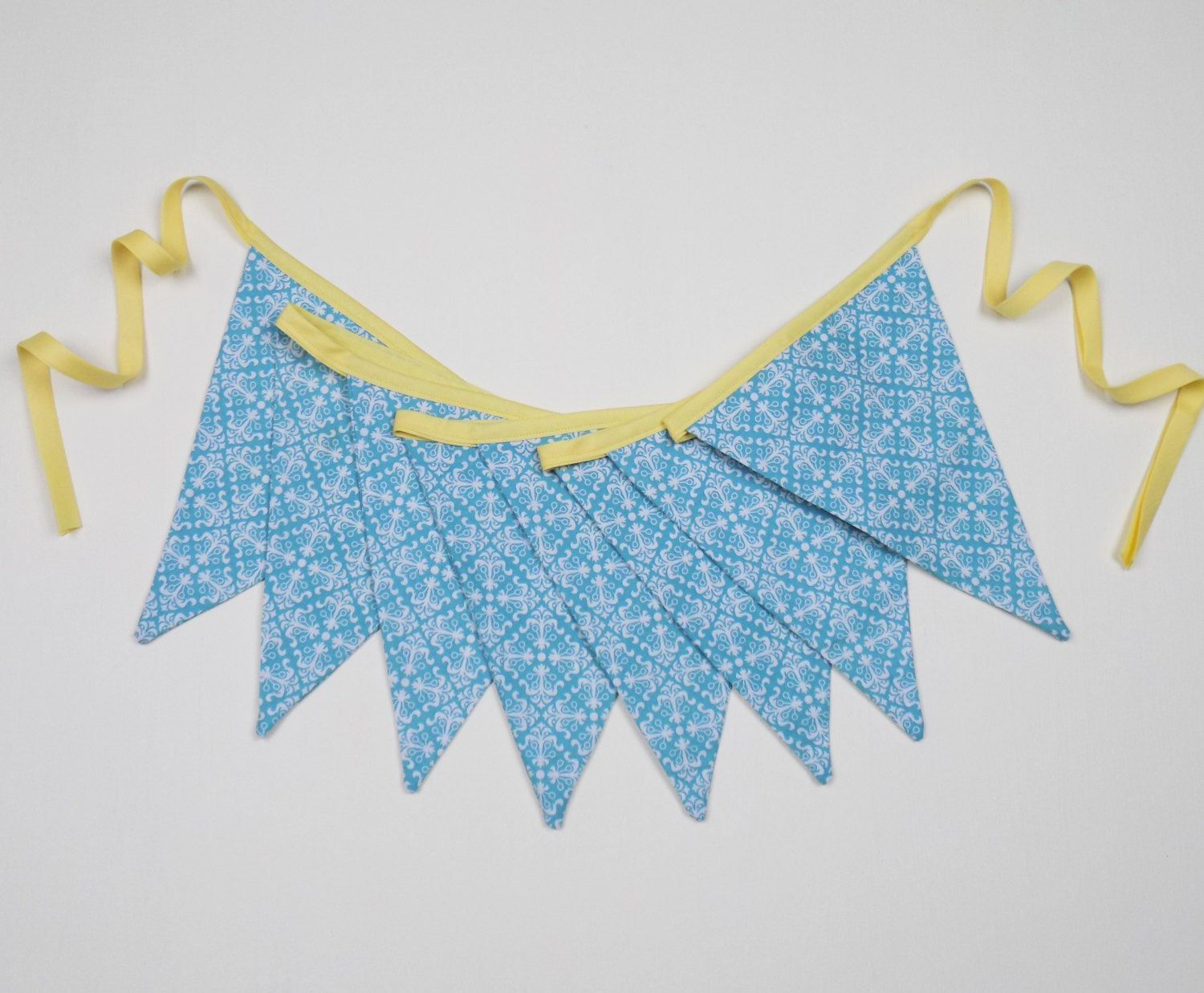 Fabric bunting turquoise yellow pennant garland triangle flags