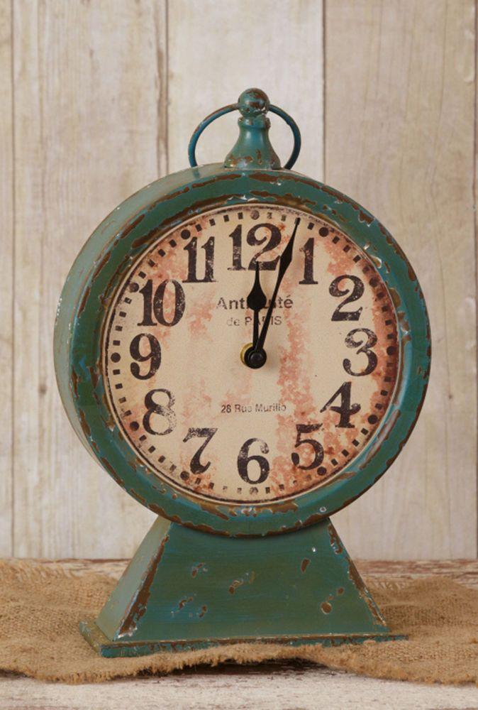 Rustic Metal Pedestal Clock Farmhouse French Country Teal Mantel Shelf Clock
