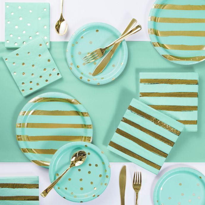 Foil Dots, Stripes And Solid 73-Piece Party Supply Kit In Mint Green/gold images