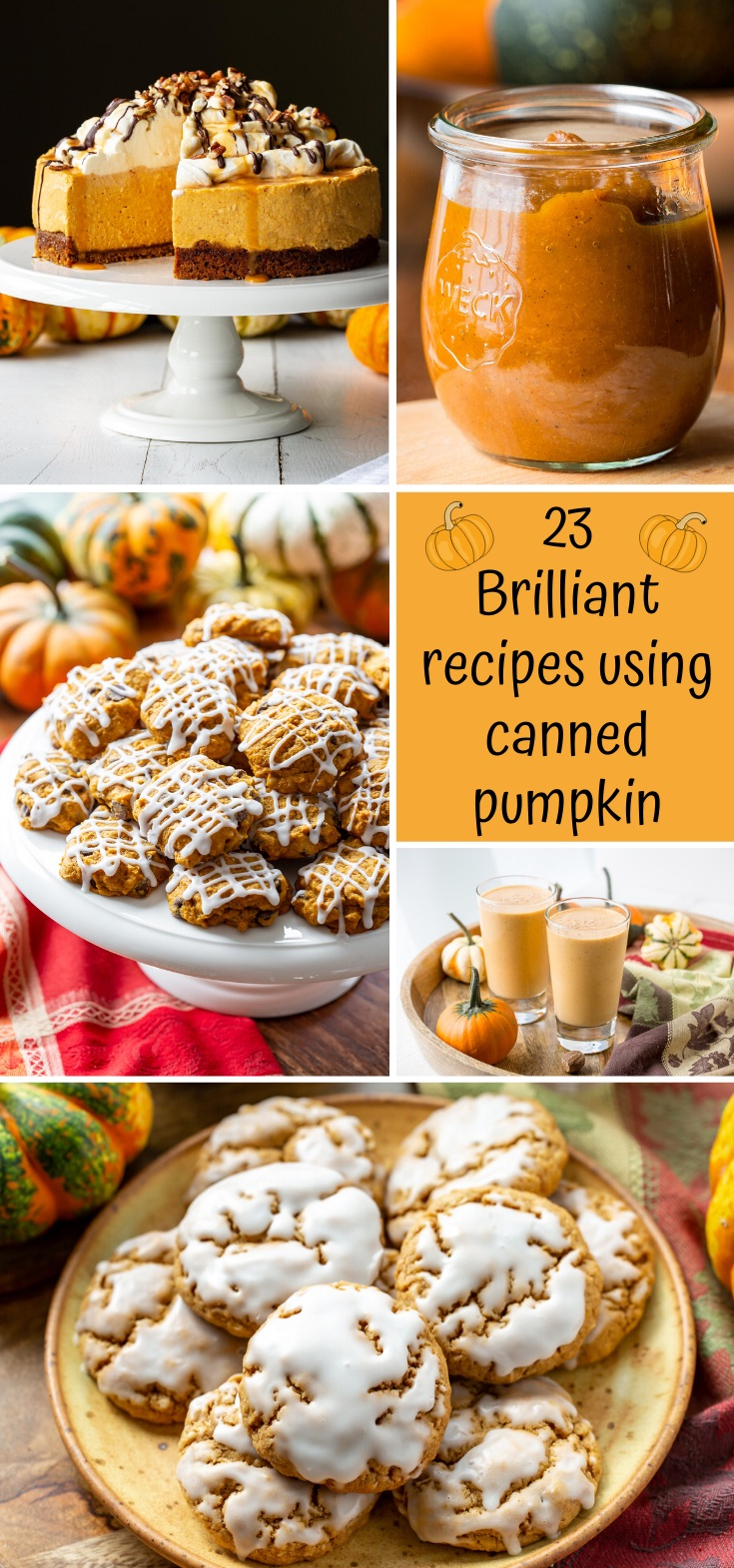 23 Brilliant Recipes using Canned Pumpkin #pumpkinpureerecipes 23 brilliant recipes using canned pumpkin puree! A wonderful add-in to all our fall baked goods, savory dinners, breakfast favorites, soups and desserts. #savingroomfordessert #pumpkin #pumpkinrecipes #fallfavorites #recipesusingpumpkin #fallbaking #pumpkincookies #pumpkinsmoothie #pumpkincake #pumpkincheesecake #pumpkinbutter #recipeswithcannedpumpkin #pumpkinpureerecipes