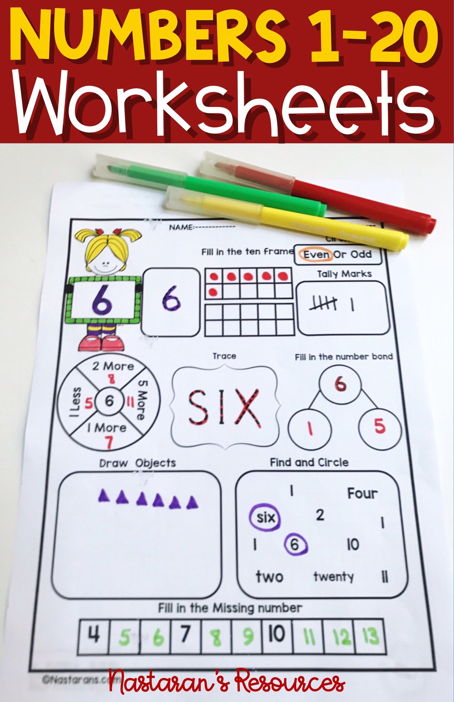 Numbers 1 20 Worksheets Assessment