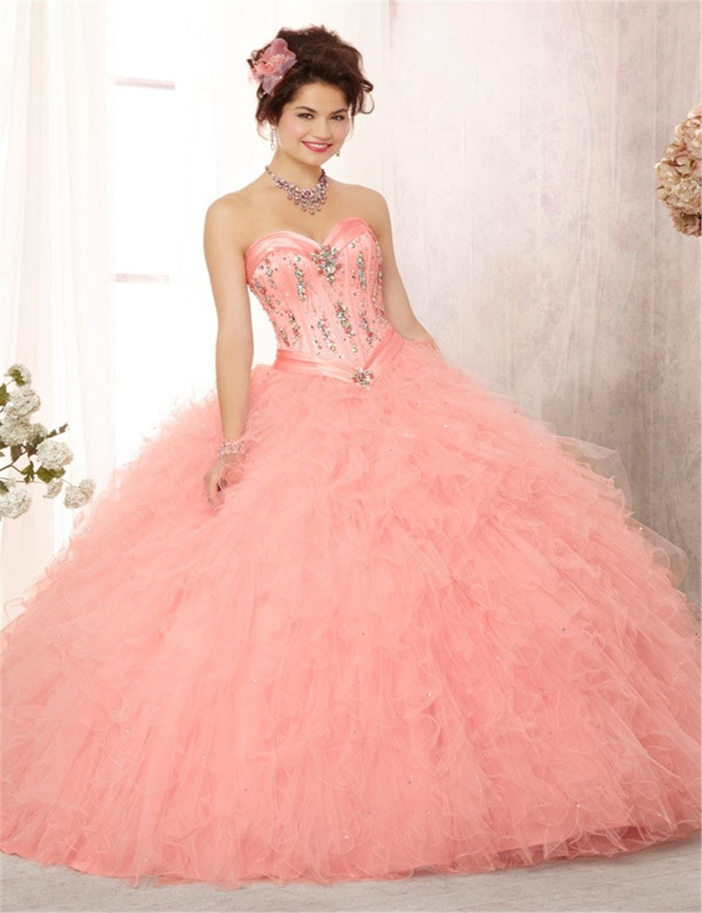Click to Buy << Cheap Coral& Mint Green Quinceanera Dresses 2016 ...