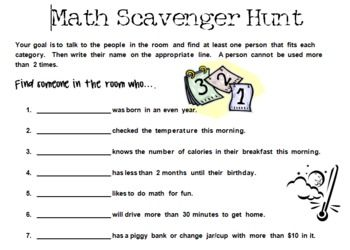 math worksheet : getting to know you math scavenger hunt for back to school  math  : Math Scavenger Hunt Worksheet