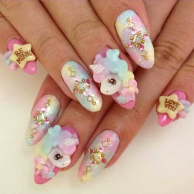 Kawaii Nails: i like the unicorn - 10 Unicorn Nails That Are Truly Magical Unicorn Nails, Unicorns