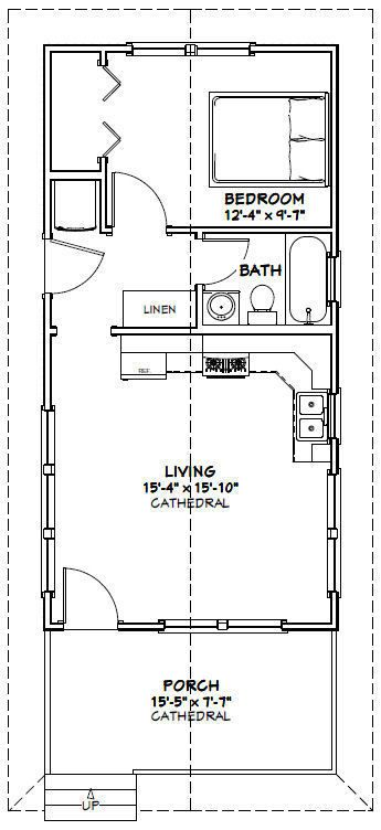 16x32 Tiny House 511 sq ft PDF Floor Plan Model 3C