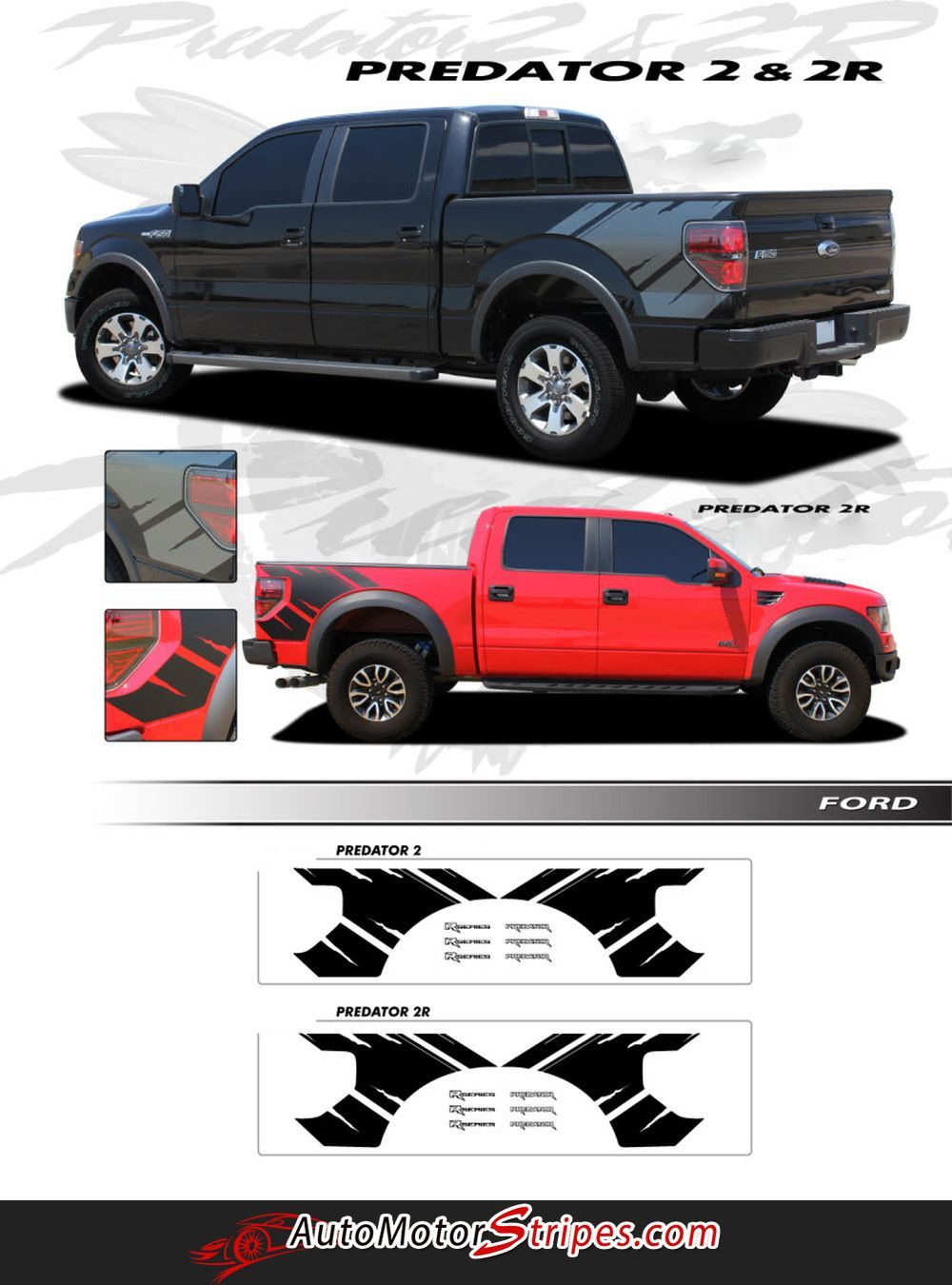 2009 2014 Ford F 150 Predator 2 Factory Raptor Style Bed Vinyl Decal Graphic 3m Stripes Ford F150 Rally Stripes Vinyl Decals
