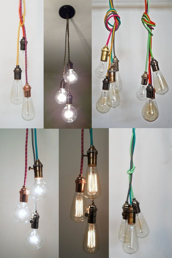 Exposed Bulb Ceiling Lights With Coloured Cords Used In Slanted