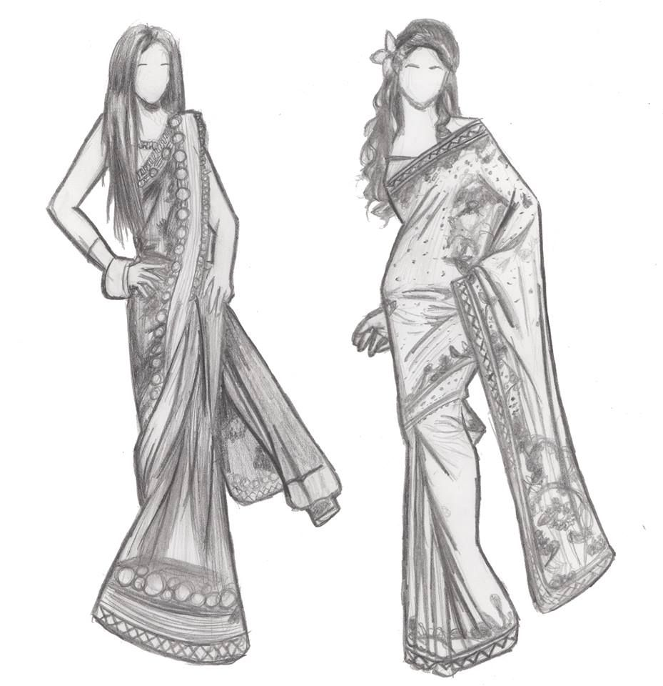 indian fashion sketches by iburntmytoast fashion