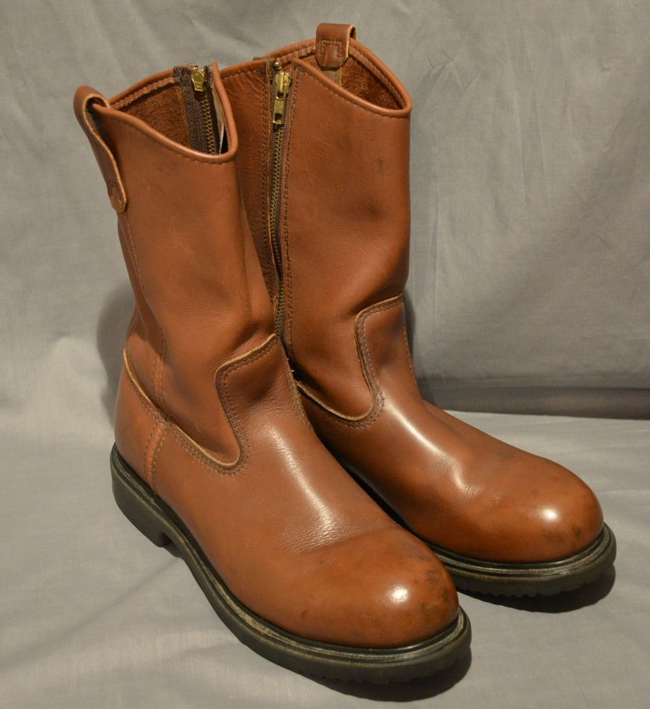 Red Wing Pecos Rare Zip Up Motorcycle