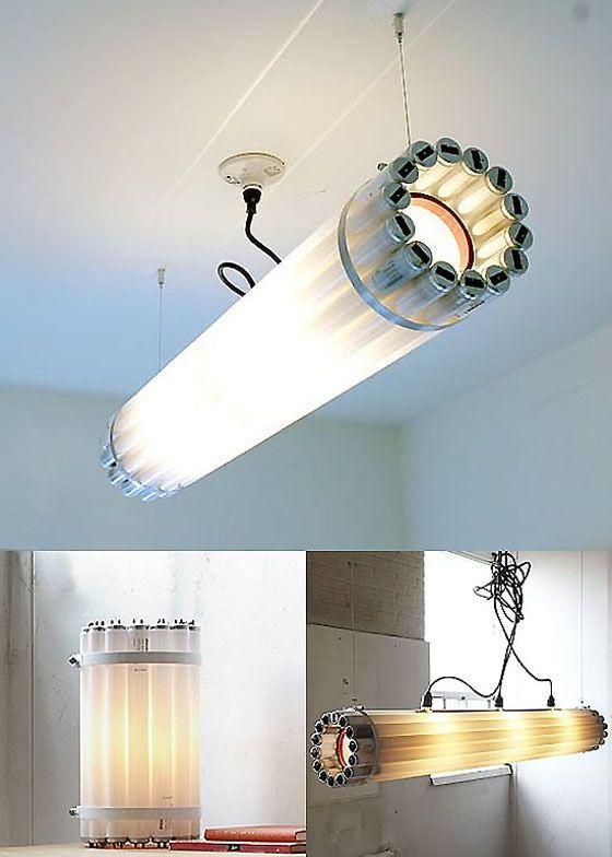 Reuse Old Tube Lights As A Cool Industrial Chandelier Tube Light Art Nouveau Lighting Lights