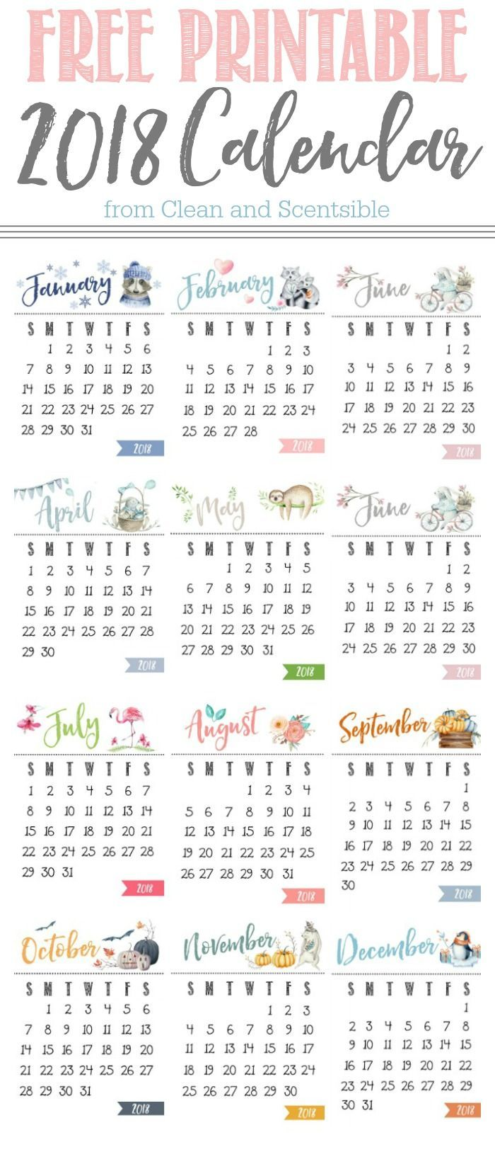yearly printable calendar 2018