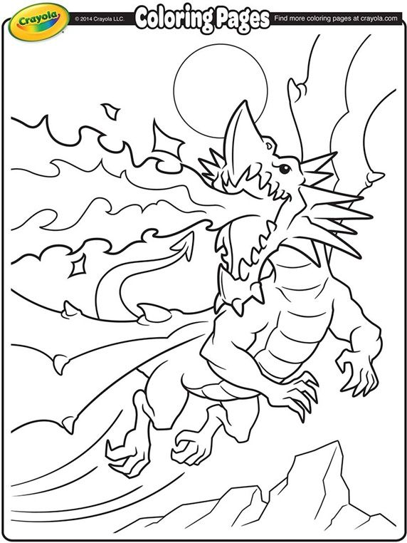 Fire Breathing Dragon On Crayola Dinosaur Coloring PagesFree