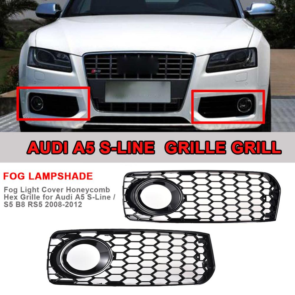 Fog Light Cover Honeycomb Hex Grille For Audi A5 S Line S5 B8 Rs5 2008 2012 High Quality Abs Plastic Honeycomb Hex Grill Black Audi A5 Audi Grilles