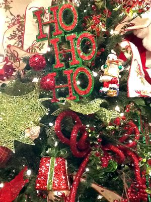 RAZ HO HO HO Red Green Christmas Ornament Set of 2 - from the 2013