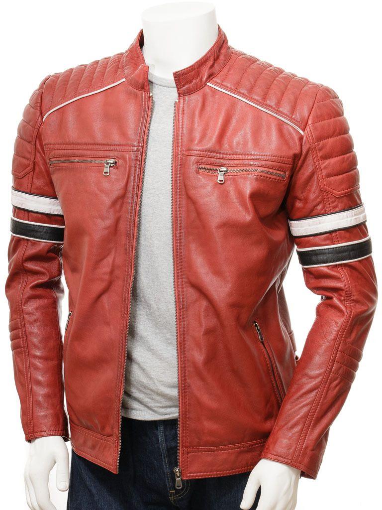 Handmade Men Red Striped Leather Biker Jacket Men Genuine Leather Jacket For Men Leather Jacket Men Biker Jacket Men Jackets Men Fashion [ 1024 x 768 Pixel ]