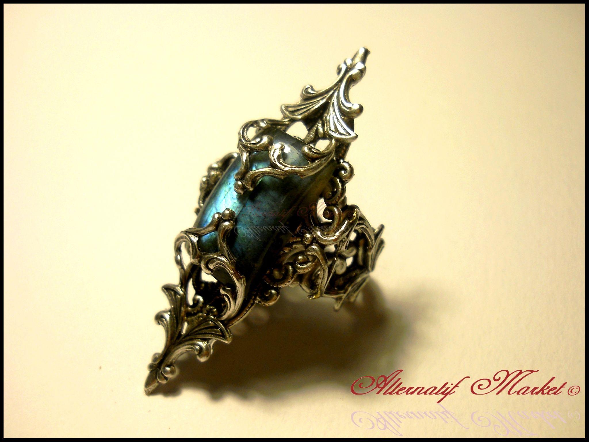 Medieval Fantasy Labradorite Elven Elvish Fairy Wedding Ring