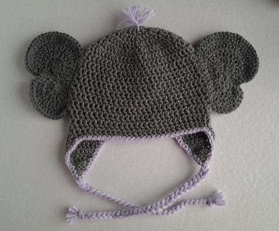 ba6b87b34 Instant download - Crochet Elephant Animal Hat Pattern ! Newborn to ...