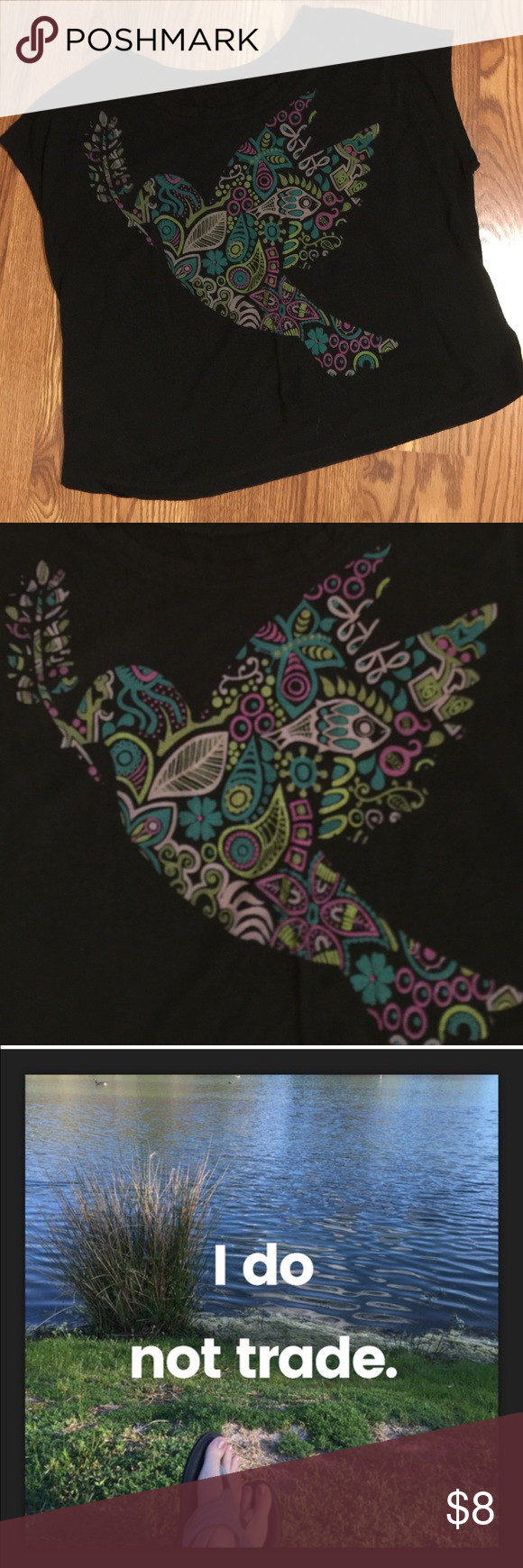 Black peace dove crop gypsy tee Very slight wash wear. Tag removed but fits like XL. Don't like my price? Make me an offer via the offer button!✌️ I strive to please & maintain 5 stars. For this reason, unless I'm out of town, I ship same or next day. You can buy with confidence knowing you will receive your item as described & quickly!  NO TRADES Tops