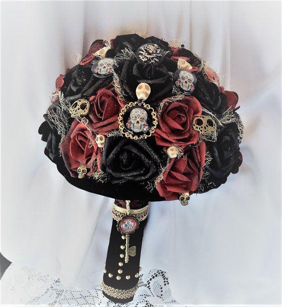 Victorian Gothic Wedding Flower Bouquet-Alternative Wedding-Skull ...