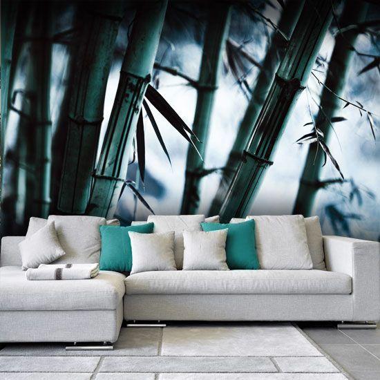 Klimatyczna fototapeta z łodygami bambusa.
