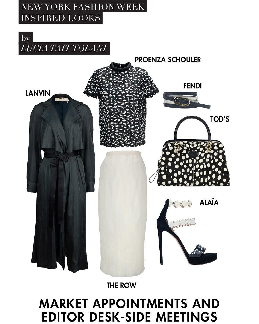 """NYFW inspired looks by @luciataittolani - for those important """"market appointments & editor desk-side meetings"""". Let the excitement of Fashion Week begin! Trend link in bio. #Lanvin (http://thehula.com/lanvin-outerwear-1174) #ProenzaSchouler (http://thehula.com/proenzaschouler-top-812) #TheRow (http://thehula.com/therow-skirt-1200) #Fendi (http://thehula.com/fendi-jewellery-1437) #Tods (http://thehula.com/tods-shoulderbag-98) #Alaïa (http://thehula.com/alaa-pumps-1450)"""