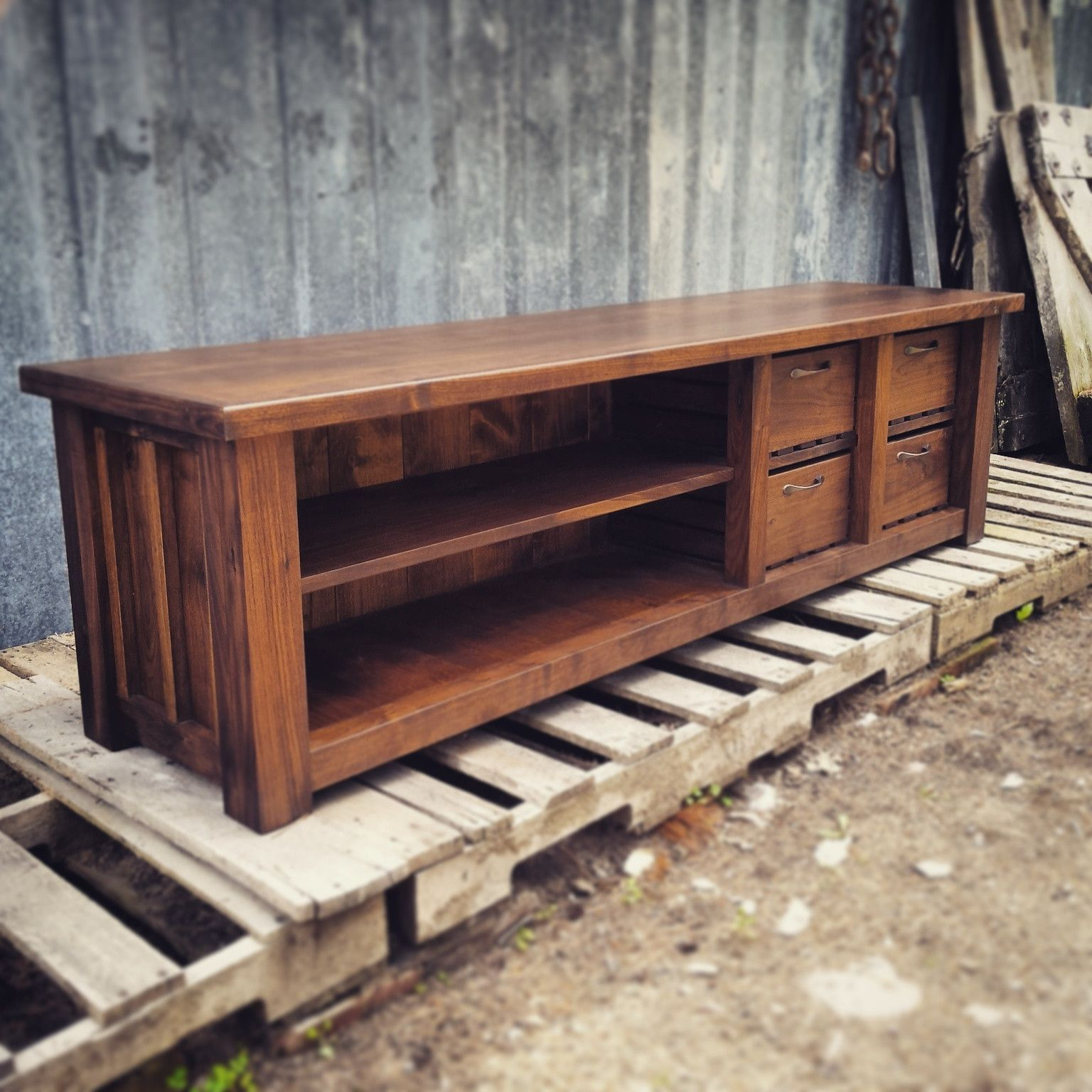Walnut Double Stack Entry Bench--but Trapezoid Shaped