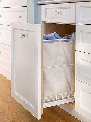 Tiroir coulissant comme panier à linge #panier-à-linge #meuble - meuble salle de bain panier a linge