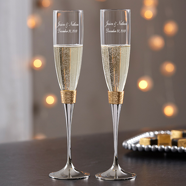 Gold Hammered Engraved Wedding Champagne Flute Set Wedding Champagne Flutes Engraved Champagne Flutes Wedding Wedding Champagne Flutes Gold