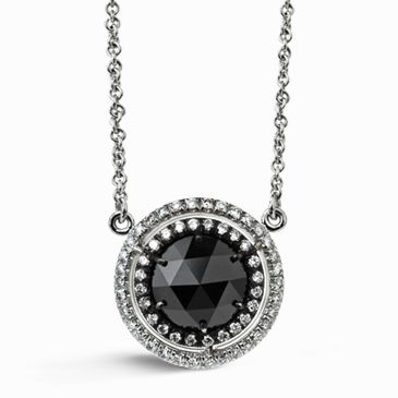 Black diamond fixed pendant necklace with halo like a prized black diamond fixed pendant necklace with halo like a prized medallion symbolizing a great accomplishment mozeypictures Images