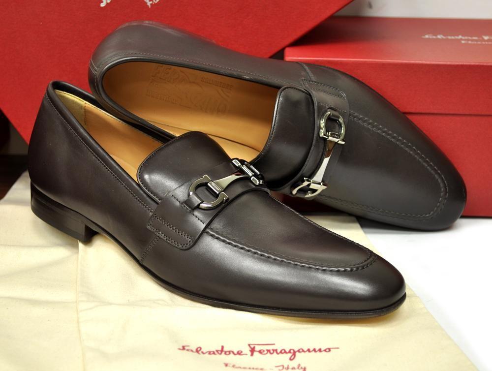 8710beb5b2e89c New Salvatore Ferragamo Mens Shoes Dorsino Gancini Bit Loafer Hickory  520