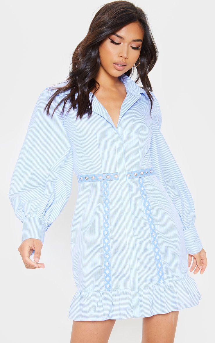 Blue Stripe Broderie Anglaise Insert Shirt Dress Women Dress Online Dresses Womens Dresses