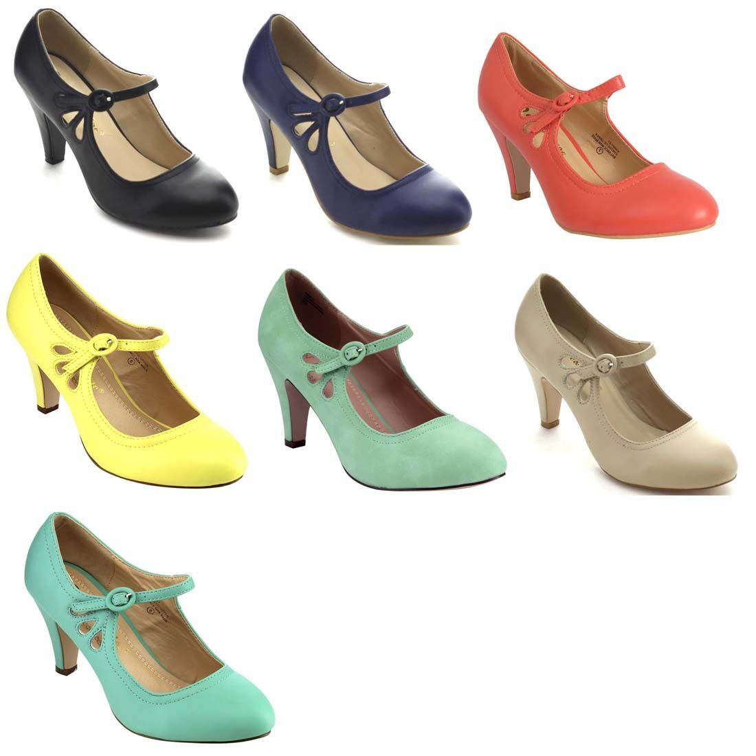 6021090df494 CHASE   CHLOE Women s Round Toe Pierced Mid Heel Mary Jane Style Dress Pumps